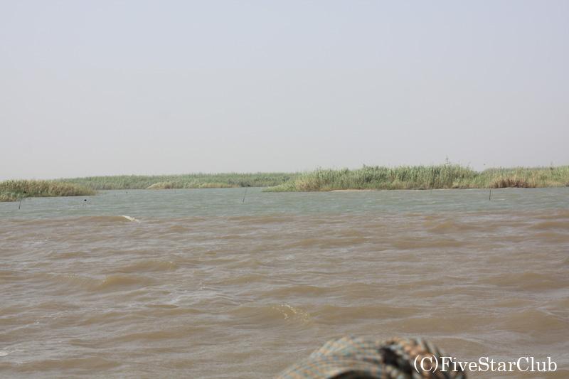 チャド湖(川と湖の境い目で色が変わる 川は青、湖は茶色)