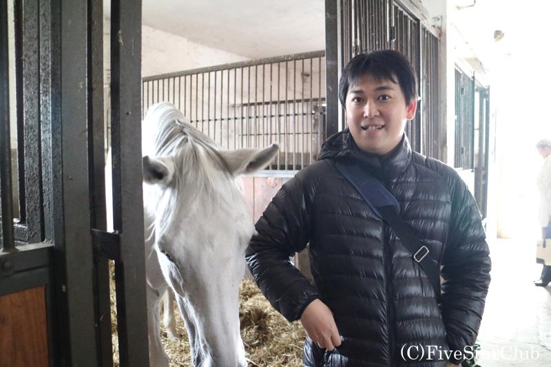 厩舎で白馬とともに