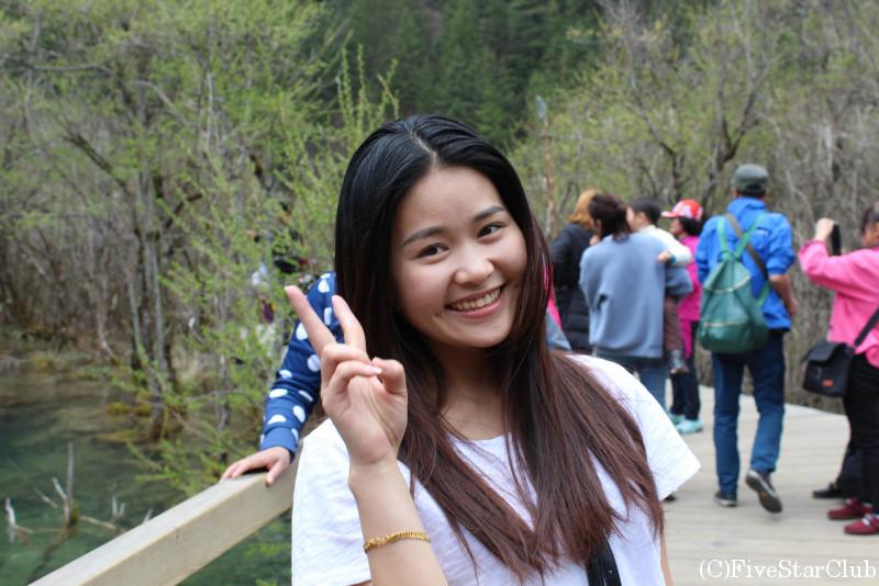 春の箭竹海瀑布にて