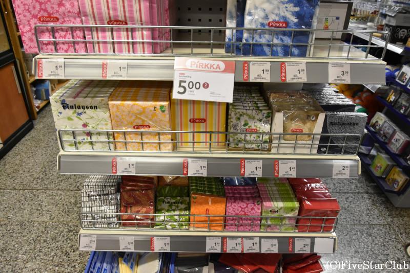 サーリセリカのスーパー内 マリメッコのナプキンペーパーが安い