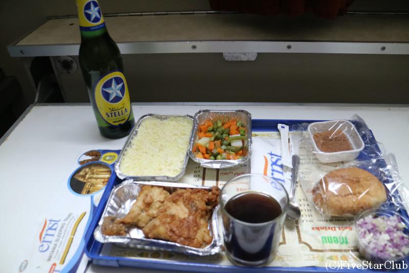寝台列車 夕食(ビールは別購入)