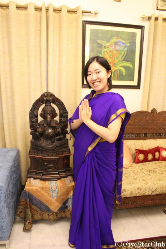 インド人のお家に訪問・サリーを着る!!