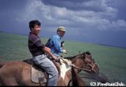 大草原で乗馬
