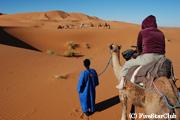 ラクダに乗って砂漠の ど真ん中へ