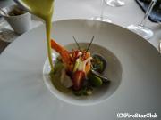 レストラン ラ・カブロドール エビ・アサリ・野菜のポタージュがけ