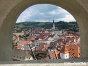 チェスキークロムロフ城から町を一望