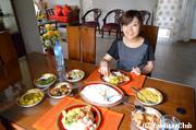 スリランカ家庭/料理レッスンの後作った料理を賞味