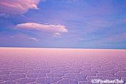 夕焼けのウユニ塩湖