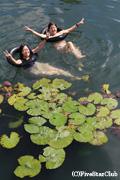 温泉湖での入浴体験