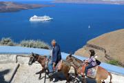 絶景を眺めながらロバに乗ってフィラタウンまで!(サントリーニ島)