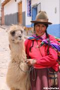リャマと民族衣装の婦人