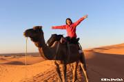 夕陽に染まるサハラ砂漠にて